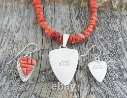 Native American Spiny Oyster Beaded Necklace Earrings Set, Calvin Begay USA Made