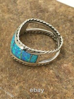 Native American Sterling Silver Blue Opal Ring Set 7.75 2785