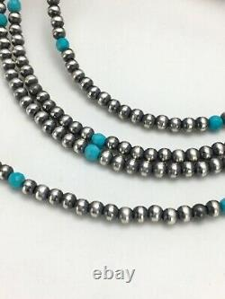 Native American Sterling Silver Faceted Turquoise Necklace 4 Str Set 2944