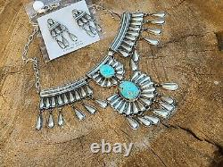 Native American Sterling Silver Lariat Turquoise Necklace set signedJames