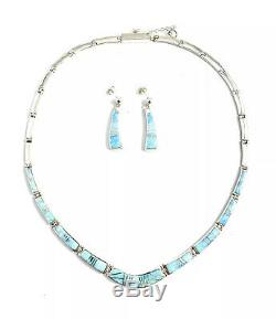 Native American Sterling Silver Navajo Handmade Blue Opal Inlay Necklace Set