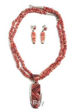 Native American Sterling Silver Navajo Handmade Spiny Oyster Necklace Set