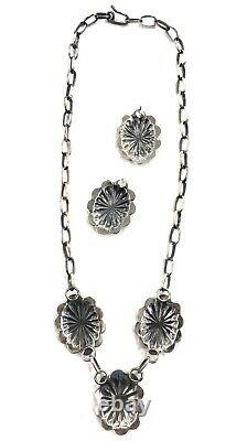 Native American Sterling Silver Navajo Handmade Stamped Necklace Set