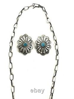 Native American Sterling Silver Navajo Handmade Turquoise Necklace Set