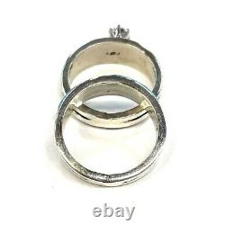 Native American Sterling Silver Navajo Handmade Turquoise Wedding Set Size 6.5