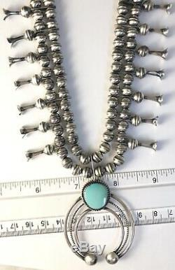 Native American Sterling Silver Navajo Indian Squash Blossom Turquoise 2 Pc Set