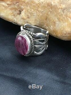 Native American Sterling Silver Purple Spiny Oyster Ring Set 6.75 2622