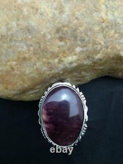 Native American Sterling Silver Purple Spiny Oyster Ring Yazzie Set 8.75 3161