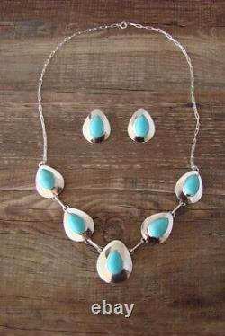 Native American Sterling Silver Turquoise Earrings & Necklace Set! Russel Wilson