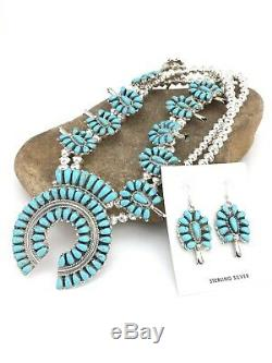 Native American Sterling Silver Turquoise Squash Blossom Necklace Naja Set 1311