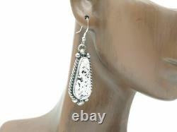 Native American Sterling Silver White Buffalo Handmade Necklace and Earring Set