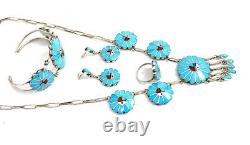 Native American Sterling Silver Zuni Handmade Sun Face Turquoise Necklace Set