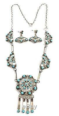 Native American Sterling Silver Zuni Handmade Turquoise Necklace Set