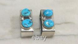 Native American Tommy Moore Sterling Silver & Turquoise Belt Buckle 4 piece Set