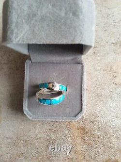 Native American Turquoise Sterling Silver Inlay Wedding Set Sz. 8