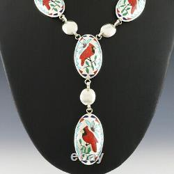 Native American Zuni Cardinal Necklace & Earrings Set By Quintin Quam