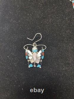 Native American Zuni Jewelry Sterling Silver & Stone Inlay BUTTERFLY Set