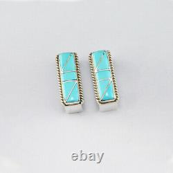 Native American Zuni Turquoise Inlay Ranger Set By Stanford & Diane Cooche