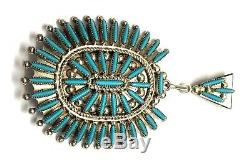 Native American sterling silver Zuni handmade Neddle Point Turquoise Set