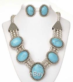 Native Navajo Sterling Silver 5 Blossoms TURQUOISE Necklace Earrings Set