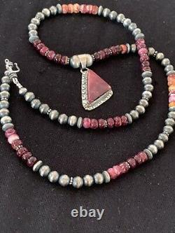Native Navajo Sterling Silver Necklace Purple Spiny Oyster Pendant Set 22in 4595