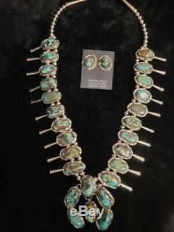 Native Navajo Sterling Silver Turquoise Squash Blossom Set -Gloria Pinto