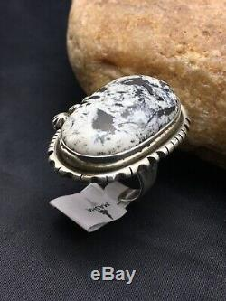 Native Navajo Sterling Silver WHITE BUFFALO Turquoise Ring Yazzie Set 8.5 2589