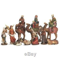 Nativity Scene With On Camels 12 x 9.5 Resin Christmas Figurine, Set of 11