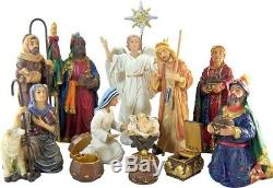 Nativity Set 7 Holy Family 3 King Statues w Authentic Gold Frankincense & Myrrh