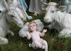 Nativity Set Pearlized 11pc Incredible 18 inch Indoor Outdoor Resin Faux Jewels