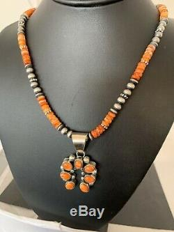 Navajo Jewelry Native Sterling Silver Orang Spiny Oyster Necklace Pendant Set282