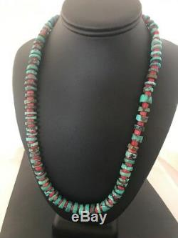 Navajo Mens Native American Sterling Silver Turquoise Coral Necklace Set 8506