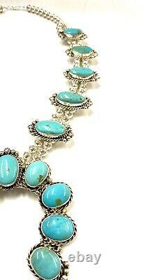 Navajo Native Pilot Turquoise Squash Blossom Necklace Set Handmade By Betta Lee