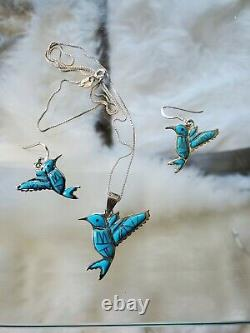 Navajo Turquoise. 925 Humming Bird Signed Necklace Earrings Native American Set