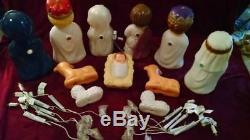 New 11 Piece Child Nativity Lighted Blow Mold Set, Christmas Manger Scene Decor