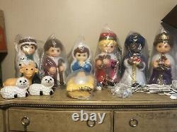 New 18 Table Top 10pc Child Like Nativity Scene Blow Mold Set
