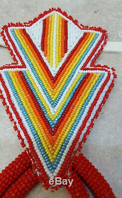 New 5 Pc. Hand Crafted Beaded Geometric Design Native American Indian Dance Set