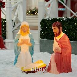 New Holiday Time Lighted Blow Mold Outdoor Indoor Nativity Set Christmas
