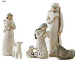 New WillowTree Nativity Set, Wise Shepherd and Stable Animals Demdaco