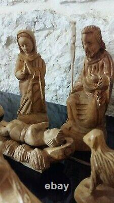 Olive Wood Nativity Scene Traditional Hand Carved Set 15 Pieces From Bethlehem