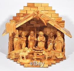 Olivewood Large Full Set Nativity Modern With12 Pieces from Bethlehem