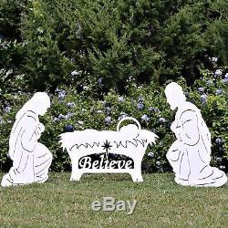 Outdoor Nativity Set Scene Christmas Decorations Yard Lawn Believe Holy Family