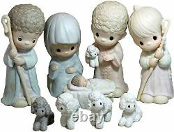 Precious Moments Nativity Set 9 withBackdrop Dealer Only 9 piece set 104523