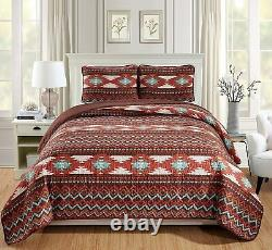 Rustic Southwestern King/Cal King Quilt Set Native American Tribal Bedspread 3pc