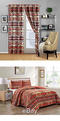 Rustic Western Native American Quilt Bedspread Coverlet Bedding Set in Modern So