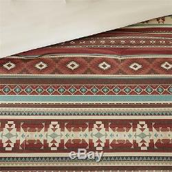 SOUTHWEST RANCH 7pc Queen COMFORTER SET BROWN RED TAOS NATIVE SOUTHWESTERN