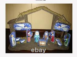 Set/7 Birds Of A Feather 13 Ct JOYOUS CHRISTMAS NATIVITY FIGURES SET Canvases