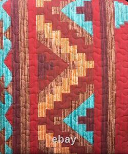 Turquoise Red Southwest Coverlet Quilt Cal-King Size Set Native American Western