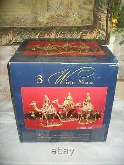 Vintage 90's Three Wise Men Christmas Nativity Statues 3 Kings on Camels 17Tall