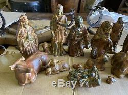 Vintage Mexican Clay Nativity Set Hand Painted Pottery Set of 15 Figures